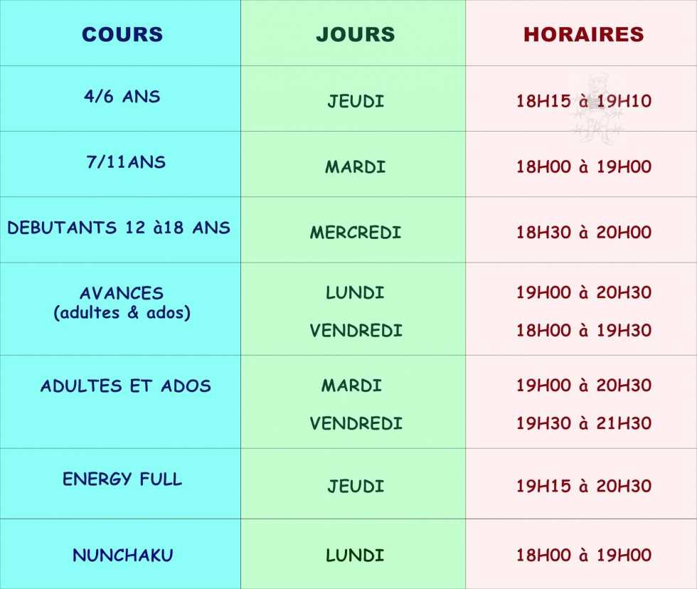 horaires cours 2014-2015
